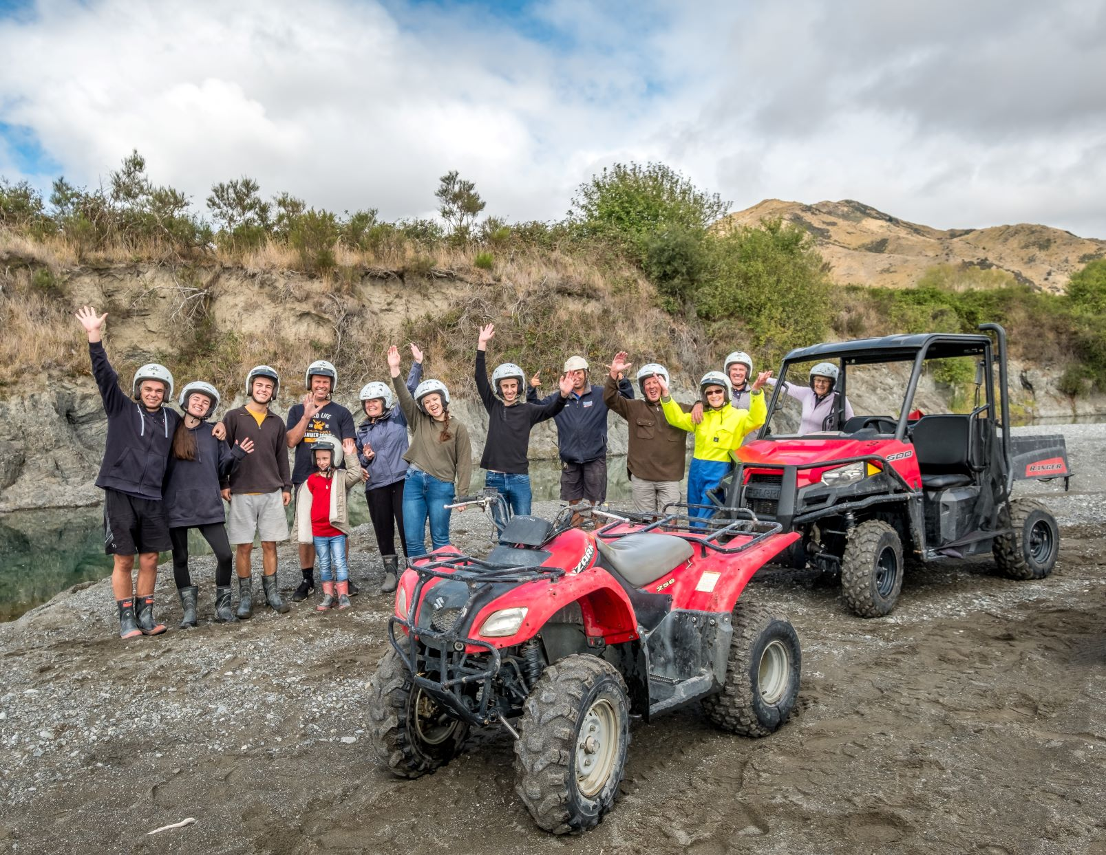 Group enjoying Hanmer Springs Attractions Quad Bike and Buggy tour